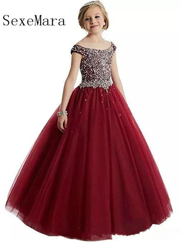 Custom Made Luxury   Flower     Girls     Dresses   Crystal Beading Scalloped Neck Puffy Tulle   Girls   Pageant   Dresses   Birthday Party   Dresses
