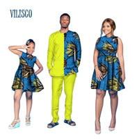 Милая семейная одежда Для мужчин топ и брюки наборы и женское платье Африканский Воск Платье с принтом дочь платье Африканский Стиль Костюм