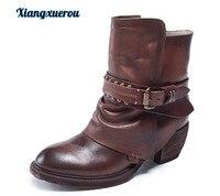 Xiangxue зима 2018 новые винтажные кожаные Женские короткие ботинки толстый высокий каблук Пряжка на ремешке один загрузки топ из яловой выделан