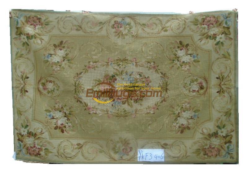 100% laine cousu à la main tapisserie tapis needleopint tapis 122 CM X 183 CM 4'X 6 «palais aubusson motif Rose