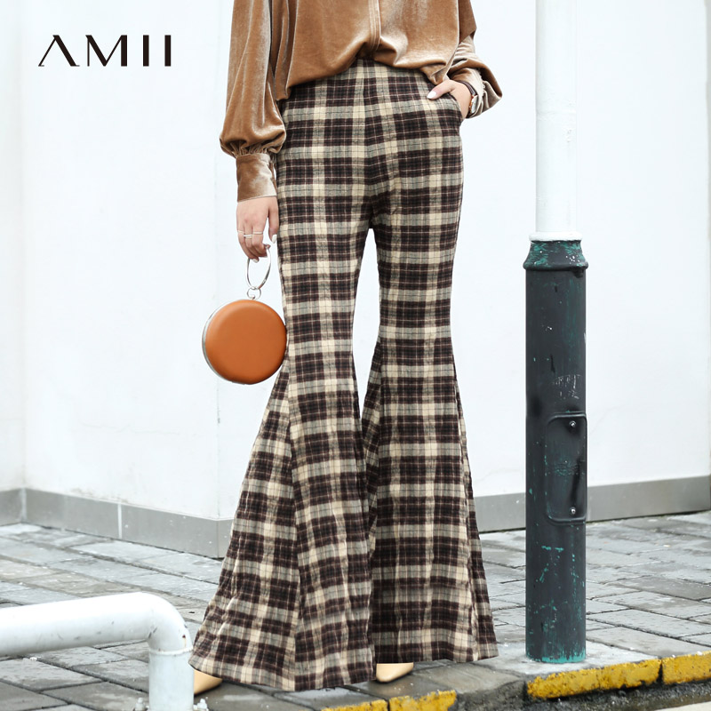 Amii Minimalist England Plaid Flare Pants Women 2019 New Vintage High Waist Plaid Slim Pockets Female Trousers