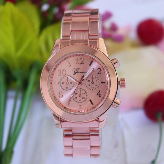 Hot NEW Fashion 4 Colors watches Geneva Ladies Women Girl Unisex High quality Stainless Steel Quartz Wrist Watch