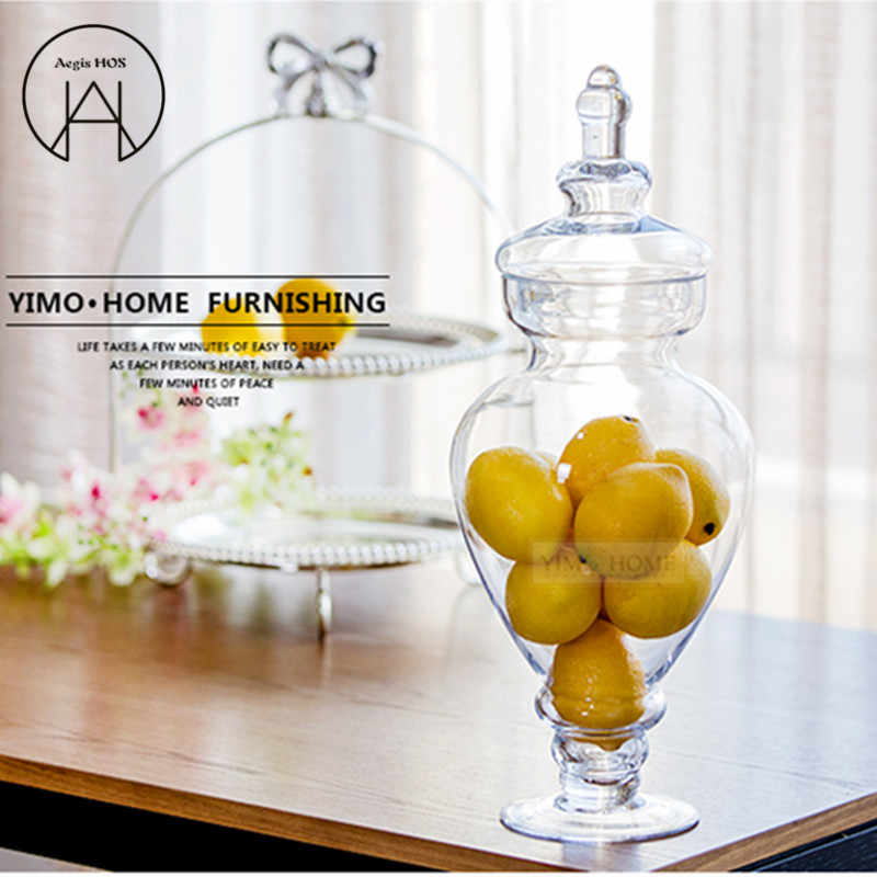 Large radish European transparent Candy jar glass tank with lid storage bottle wedding decoration set dessert pot Creative vase