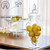 Large radish European transparent Candy jar glass tank with lid storage bottle wedding decoration set dessert pot Creative vase