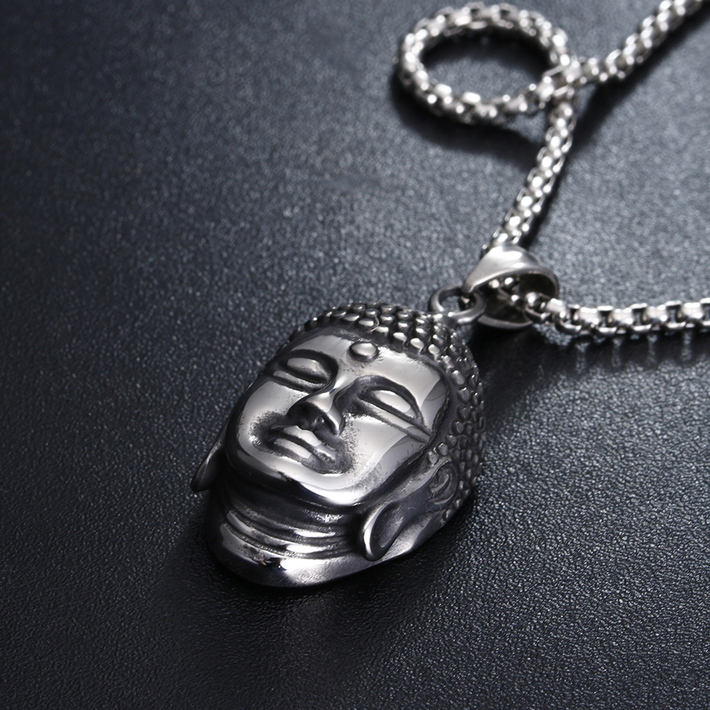 Hiphop Rock 316L Stainless Steel Buddha Pendant Necklace Men 39 s Holiday Gift Box chain Necklace Jewelry in Pendant Necklaces from Jewelry amp Accessories