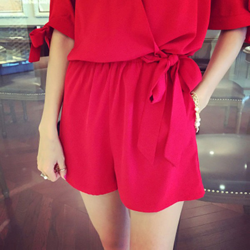 WEIXINBUY 2018 Fashion Women Jumpsuit Sexy V Neck Short Sleeve Shirt Elegant Rompers Casual Solid Playsuit