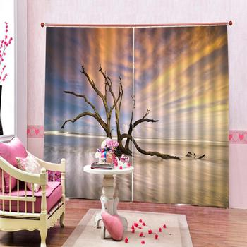 personality curtains nature scenery blue Curtain office Bedroom 3D Window Curtain Luxury living room decorate Cortina