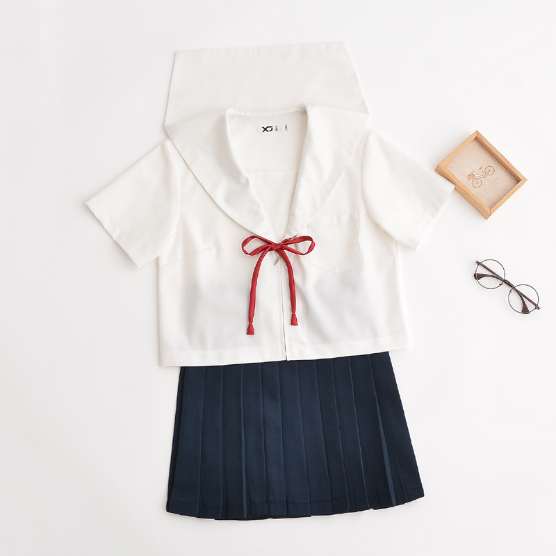 Fashion Jk Japanese School Uniforms For Girls Sailor School Cosplay Uniform Class White Navy Summer School Uniform Girl Suit Set