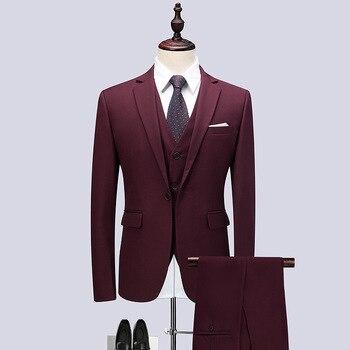 Men's suit men's burgundy slim business dress suit three-piece suit (jacket + pants + vest) men's banquet suits