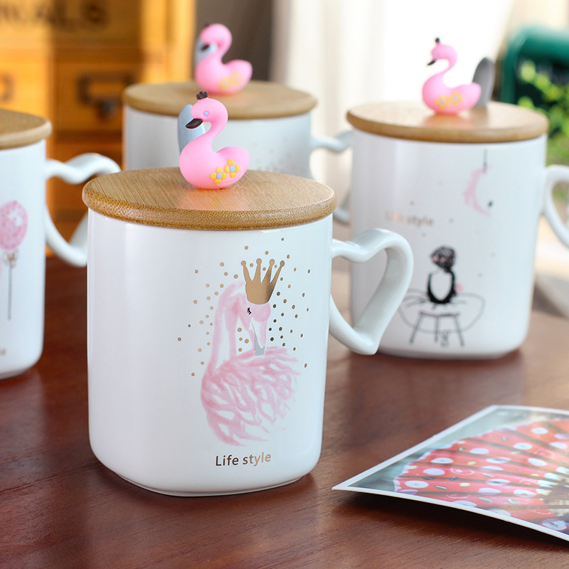 2018 new pink flamingo ceramic cup Creative cartoon mug Office milk coffee mug Holiday novelty gift Breakfast cup tea cup