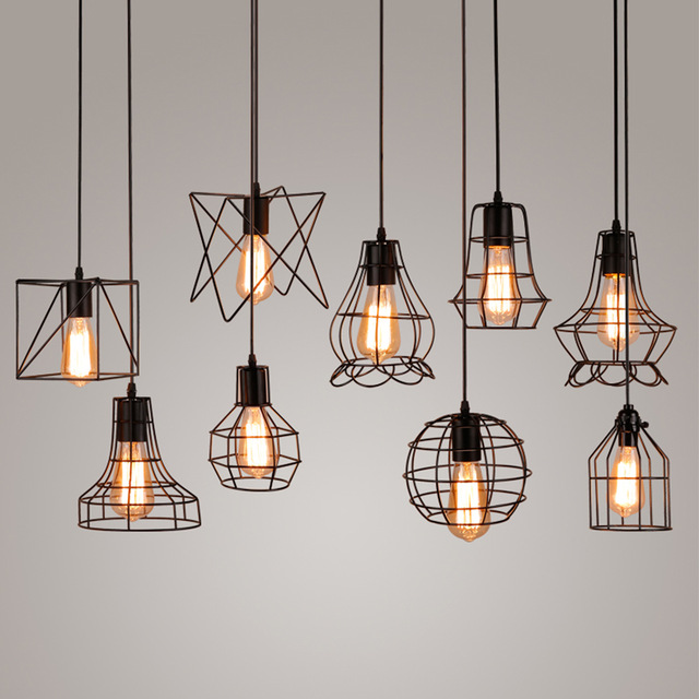 Aliexpress.com : Buy Vintage Industrial Metal Cage Pendant Light ...