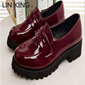 LIN KING Enma ai Daily Cosplay shoes Lolita Brown Black slip on Shoes Round Toe Women Pumps Low Square Heel Dress Shoes Female