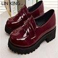 LIN REI Enma ai Cosplay Diária sapatos Lolita Marrom deslizamento Preto em Sapatos Dedo Do Pé Redondo Mulheres Bombas Sapatas de Vestido do Salto Baixo Quadrado feminino