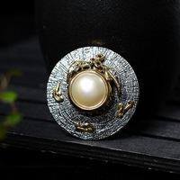 Retro Thai Silver Jewelry Ladies Pearl Brooch Retro Fashion Models S925 Sterling Silver Pendant And Brooch Dual use Wholesale