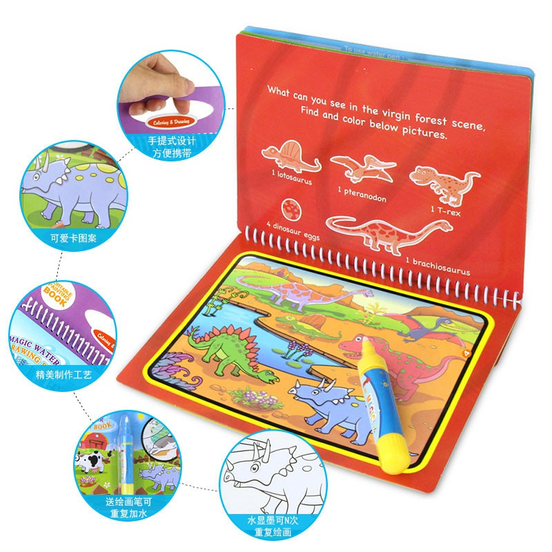 5 Styles Magic Water Drawing Book Coloring Book Doodle with Magic Pen Painting Board For Children Education Drawing Toy