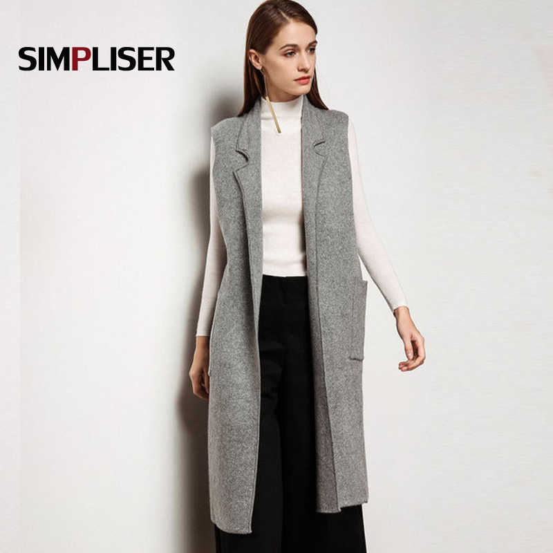 2018 High Quality Women Cashmere Blend Vest Waistcoat Lady Office Wear Long  Waistcoat Women Coat Casual bfa51be23