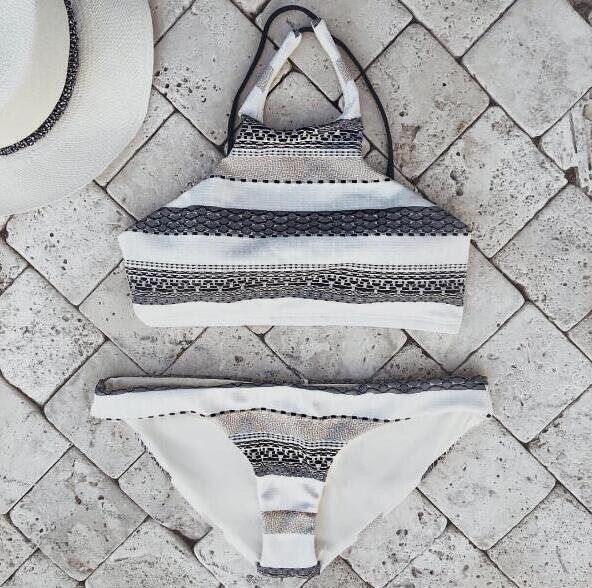 Cropped Swimwear Women New 2017 High Neck Vintage Bikinis Swimsuit Bandage Striped Bathing Suits Beach Swim Wear Bikini Set обучающие плакаты знаток электронный звуковой плакат живая география