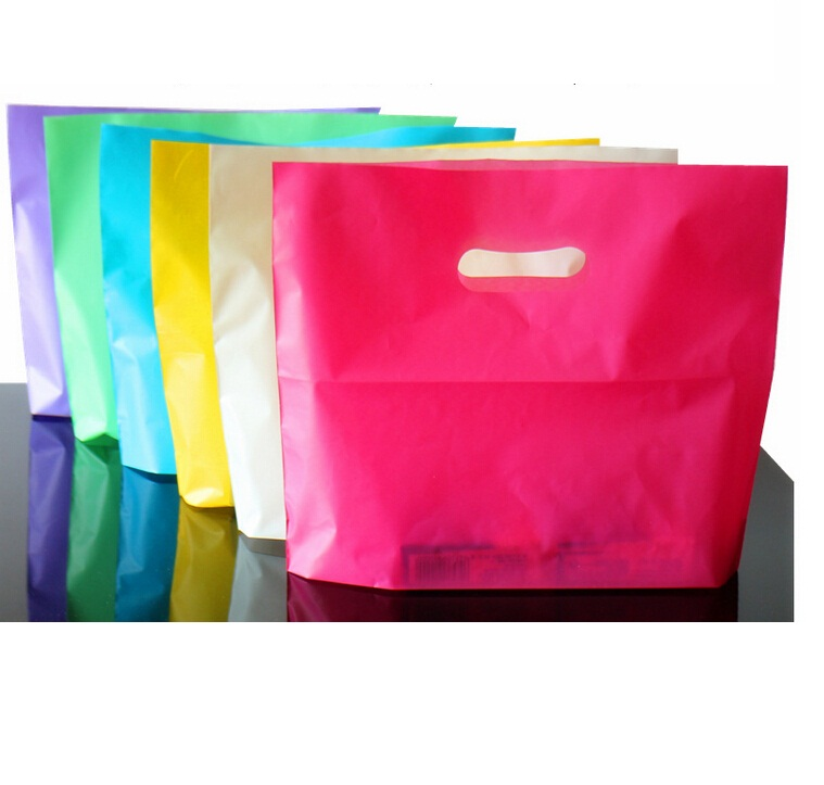 50pcs 6 Color Plastic Bag Gift Bag With Handle,Handle Plastic Shopping Bag,wedding Party Gift Shopping Plastic Bags With Handle