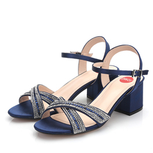 women sandals New womens cross-straps fashionable heels water drills thick large size shoes