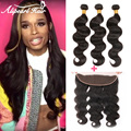 Ali Pearl Hair 8A Lace Frontal Closure With Bundles Peruvian Virgin Hair Ear to Ear 13*4 Lace Frontal With Baby Hair Human Hair