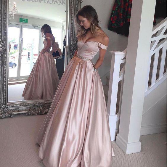 2017 Elegant Evening Dress Prom Dress A line Light Pink Off Shoulder ...