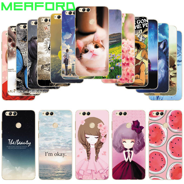 online store 6ed64 a5b40 US $4.81 |For Huawei Honor 7X Case Silicone TPU Back Cover Animal Cat  Printing Case Capa Coque For Huawei Honor 7X X7 Cartoon Case-in Fitted  Cases ...