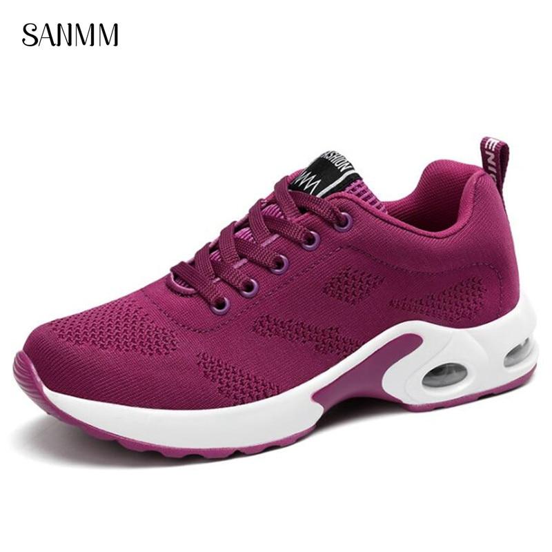SANMM Fashion Cross-tied Platform Sneakers Women Spring Autumn Mesh Casual Shoes Breathable Walking Shoes Woman AZ12