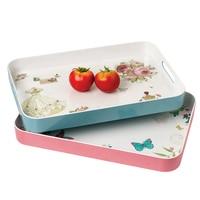 New Arrival Plastic Tray Rectangular European Garden Small floral Plasitc fruit tray British Korean Tea Plate