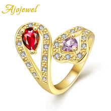 Ajojewel Rose Gold Color Delicate Copper Ring Women Red Purple Zirconia Ring Luxury Women Accessories Wholesale delicate beads hollow ring for women