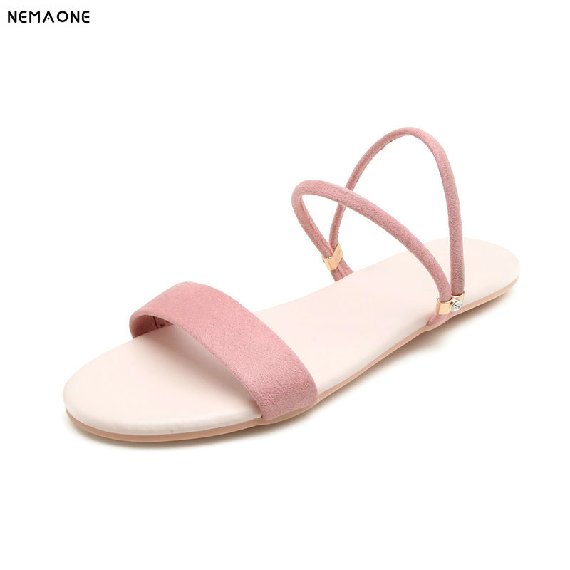 NEMAONE women flat sandals suede leather slippers woman summer style beath shoes woman large size 41 42 43 nemaone new flat women slippers suede leather sandals woman summer style pearl beath women shoes black apricot pink green