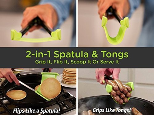 New 2 in 1 Clever Kitchen Spatula and Tongs Non-Stick Heat Resistant Stainless Steel Frame Silicone Tongs Kitchen Gadget 3