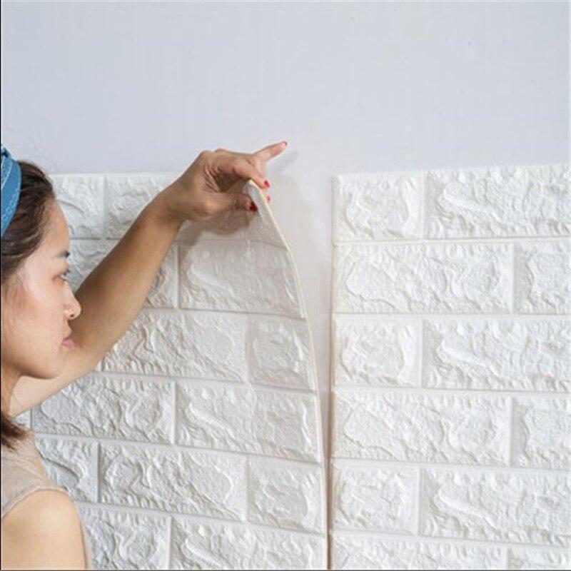 PE Foam Stickers 3D Wall Brick Pattern Waterproof Self Adhesive Wallpaper Room Home Decor For Kids Bedroom Living Room Stickers