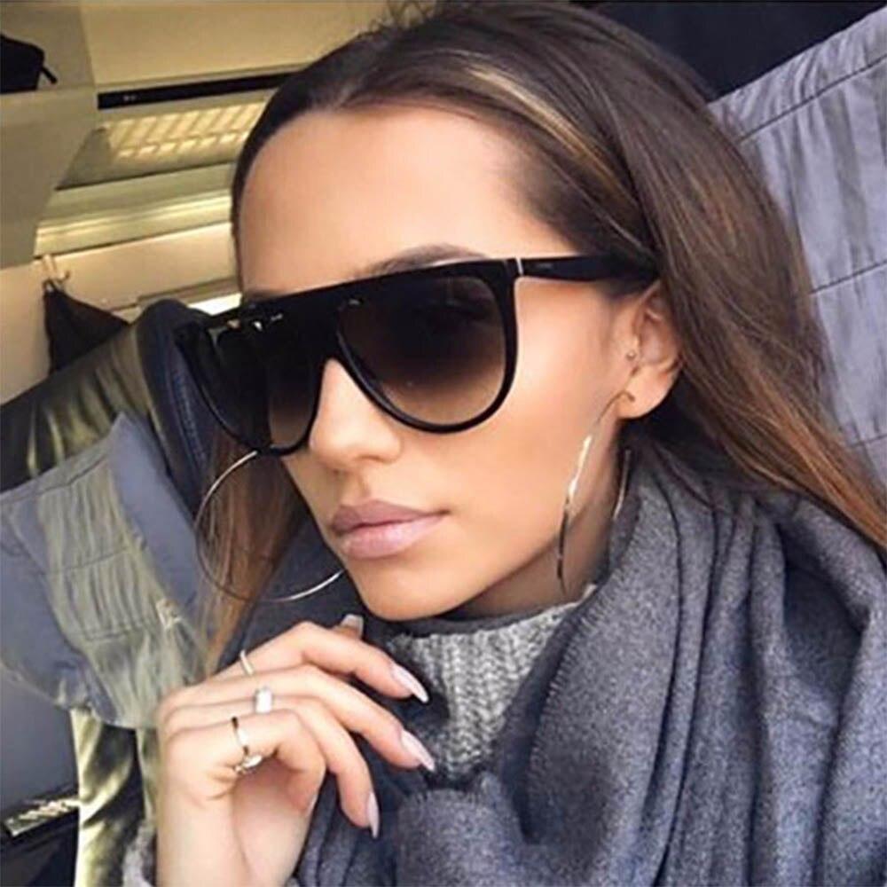 Sunglasses Women Flat-Top Kim Kardashian Female Retro Vintage Designer Luxury Brand 0166