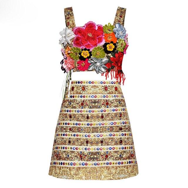GoodliShowsi Summer Sexy Corset Skirt Suit Women Diamond Embroidery Applique Female Fashion Two Piece Set