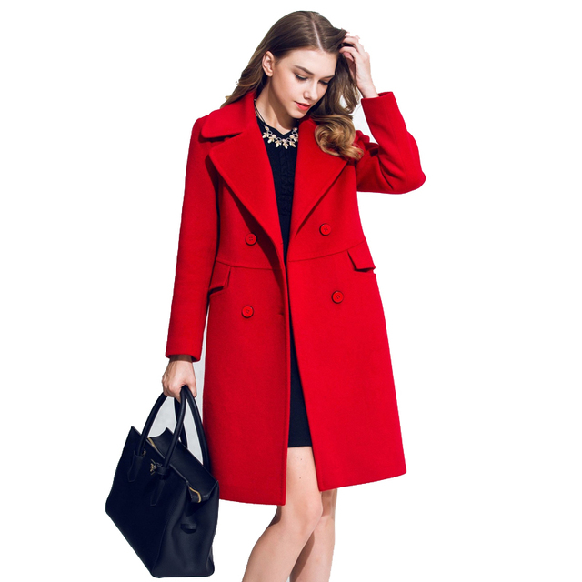 372a1431d4288 Abrigos Mujer Lady Winter Coats 2016 Fashion Double-breasted Long Manteau  Femme LL0072 Big Suit