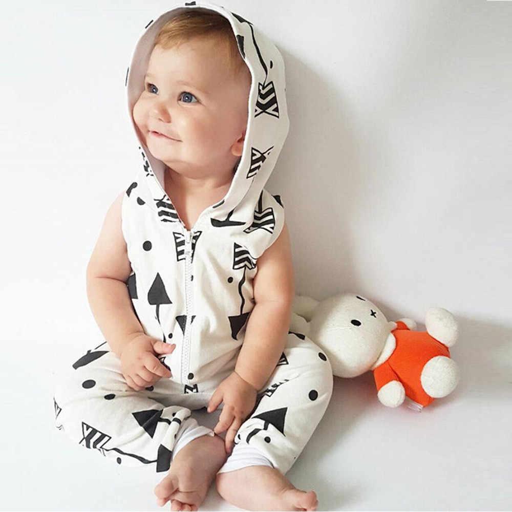 2019 infantes niños bebés con estampado de flechas con capucha mono trajes ropa con cremallera ropa Casual Babe ropa de moda blanca