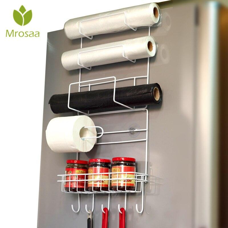 Mrosaa Kitchen Hanging Rack Refrigerator Side Storage Holder 6-Tiers Fridge Organizer Shelves Paper Holder For Kitchen Bathroom