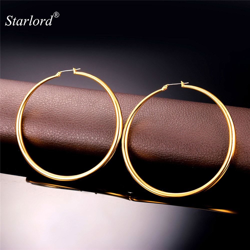 Big Earrings Hot Sale Gold Color Simple High Quality Basketball Wives Fashion Jewelry For Women Hoop Earring E6391