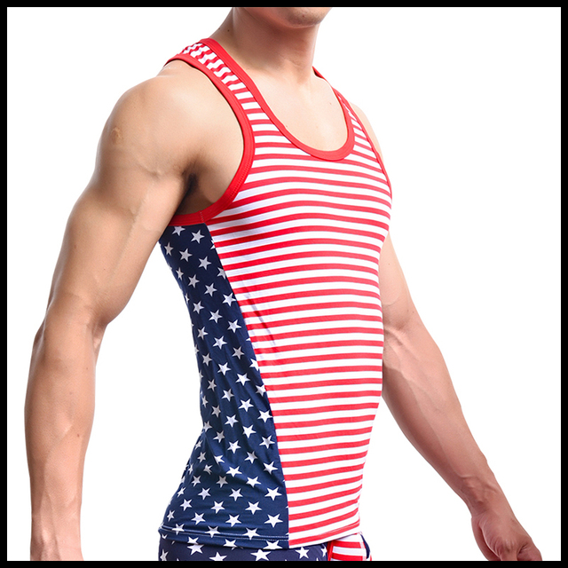 Men Tank Top/American Flag Print Male Cotton Spandex Muscle Tank/Gay Fitness Bodybuilding Vest/Sleeveless Shirt