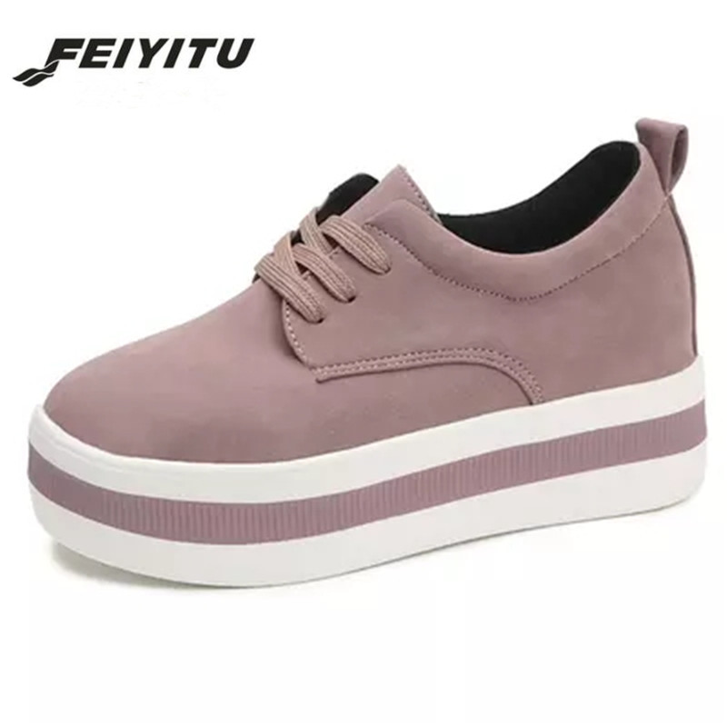 Feiyitu 2018   Suede     leather   sneakers shoes women comfortable fashion spring leisure woman shoes flats Gray Pink Size 35-39