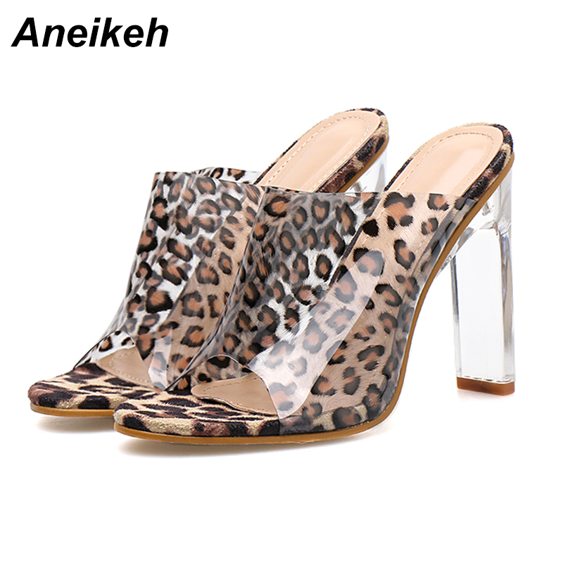 Aneikeh 2019 Classic PU Ladies Slipper Women Clear Leopard Grain Transparent Square Clear Glass Heel Round Toe Party Dance 35-40