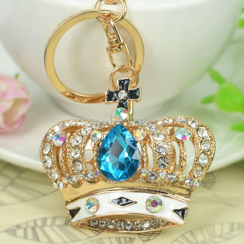 New Arrive Blue Crown Car Handbag Keyring Fashion Jewelry Women Rhinestone Crystal Charm Key Bag Chain Christmas Gift