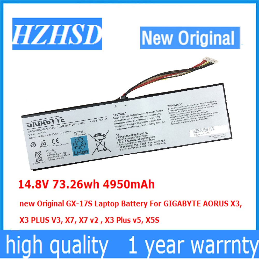 14.8V 73.26wh 4950mAh GX-17S new Original GX-17S Laptop Battery For GIGABYTE AORUS X3, X3 PLUS V3, X7, X7 v2 , X3 Plus v5, X5S slim laptop charger 19 5v 7 7a 19v 7 9a ac power adapter for gigabyte aero 14 15 15w v8 15w bk4 p34k v3 v5 p34w v3 v4 v5 p35g v2