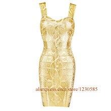 Wholesale 2016 Sexy Gold Spaghetti Straps Mini Women Bandage Dress Celebrity Style Dress De Vestido Bodycon Nightclub Dress