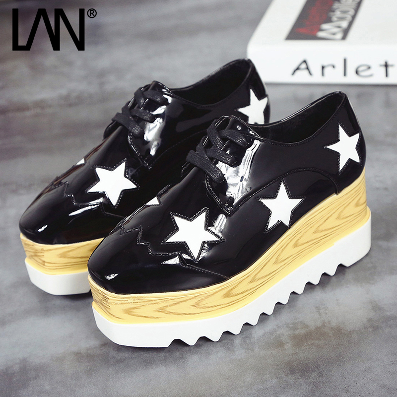 2017 Spring Oxfords Shoes For Women Platform Star Lace Up Creepers Women's Oxfords Shoes Casual Ladies Flats Shoes Loafers 7cm women harajuku cartoon lace up wedges platform shoes 2015 casual shoes trifle thick soled graffiti flat shoes ladies creepers