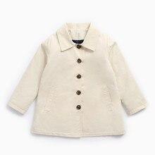 Детская одежда хлопковые пальто для девочек осенние и зимние стиль мальчиков сплошной цвет хлопок детские пальто с лацканами