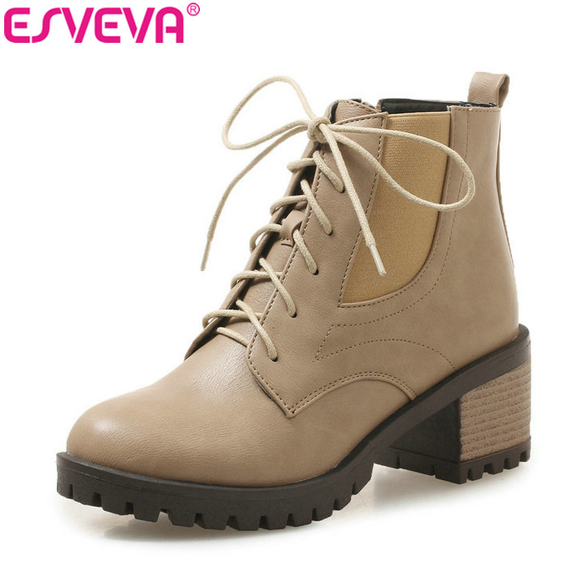 ESVEVA 2019 Women Boots Zip Round Toe Square Low Heels Short Plush Winter Shoes Ankle Boots Woman Concise Lace Up Size 34-43 esveva 2018 chunky women boots short plush square heels ankle boots round toe zippers spring and autumn ladies shoes size 34 43