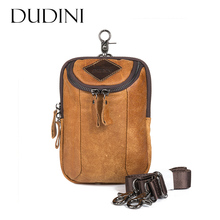 [DUDINI]Retro Genuine Leather Shoulder Bag Men Messenger Business Waist Packs Designer Men Crossbody Bags CellPhone Bum MiniPack