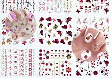 hot-sell 30pcs New Red Gold Fashion style Rose Transfer Stickers 3D Design DIY Nail Art Decorations Sticker Decal