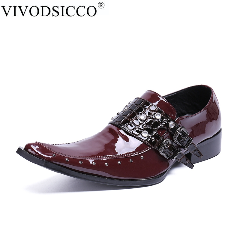 VIVODSICCO Luxury Brand Men Formal Shoes Pointed Toe Business Wedding Patent Leather Oxford Shoes For Men Dress Wedding shoe mycolen men formal shoes luxury business dress shoes full leather pointed toe loafers men wedding leather shoe black moccasins